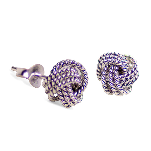 Rhodium Plated Sterling Silver Love Knot Earrings