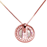 White Mother of Pearl & Cubic Zirconia Pendant in 18K Rose Gold Plated Sterling Silver