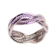 Rhodium Over Sterling Silver Double Twist Ring