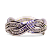 Rhodium Plated Sterling Silver Double Twist Ring