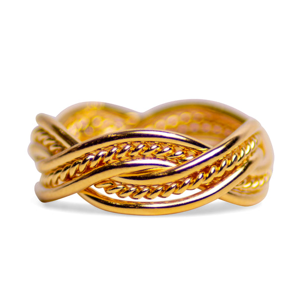 18K Yellow Gold Plated Sterling Silver Double Twist Ring