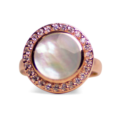 White Mother of Pearl & Cubic Zirconia Halo Ring | SilverAndGold