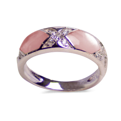 Pink Mother of Pearl, Cubic Zirconia, & Rhodium Over Sterling Silver Ring