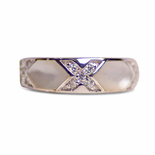 White Mother of Pearl, Cubic Zirconia, & Rhodium Plated Sterling Silver Ring
