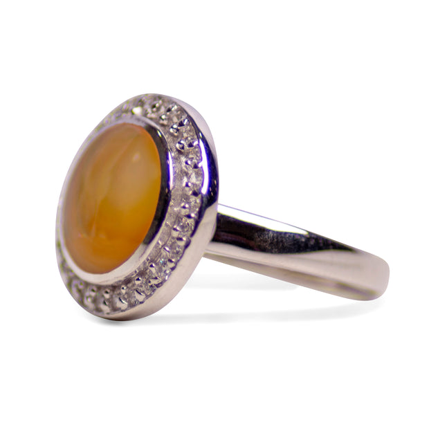 Gold Mother of Pearl & Cubic Zirconia Halo Ring | SilverAndGold