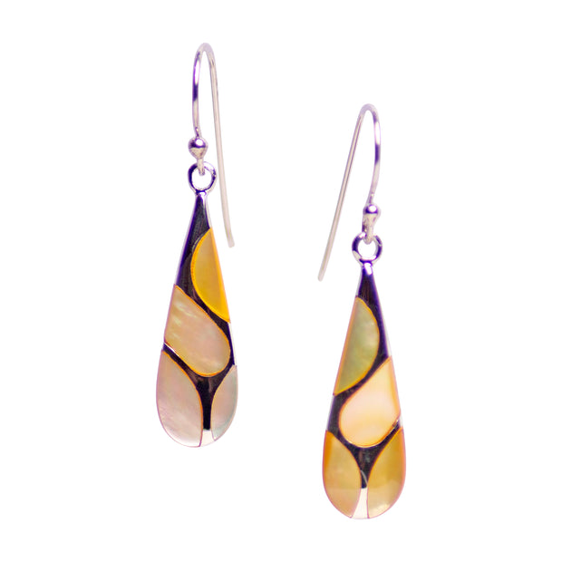 Gold Mother of Pearl & Rhodium Plated Sterling Silver Earrings