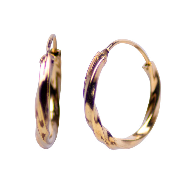 18K Yellow Gold Over Sterling Silver Endless Slow Twist Small Hoop Earrings