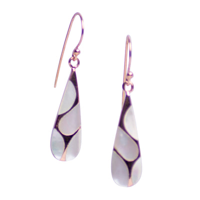 White Mother of Pearl & 18K Rose Gold Plated Sterling Silver Earrings