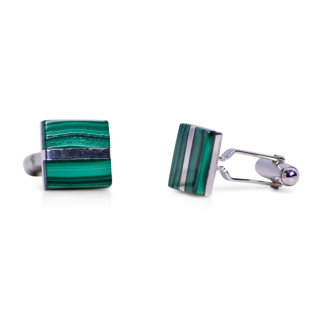 Square Malachite & Sterling Silver Cufflinks | SilverAndGold