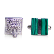 Square Malachite & Rhodium Plated Sterling Silver Cufflinks