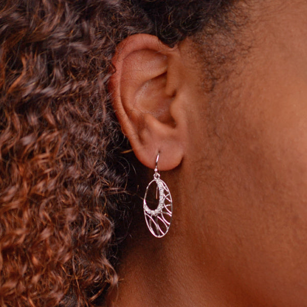Intricate Oval Silver Cubic Zirconia Earrings | SilverAndGold