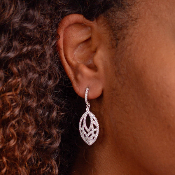 Crystal Zirconia Teardrop Sterling Silver Earrings | SilverAndGold