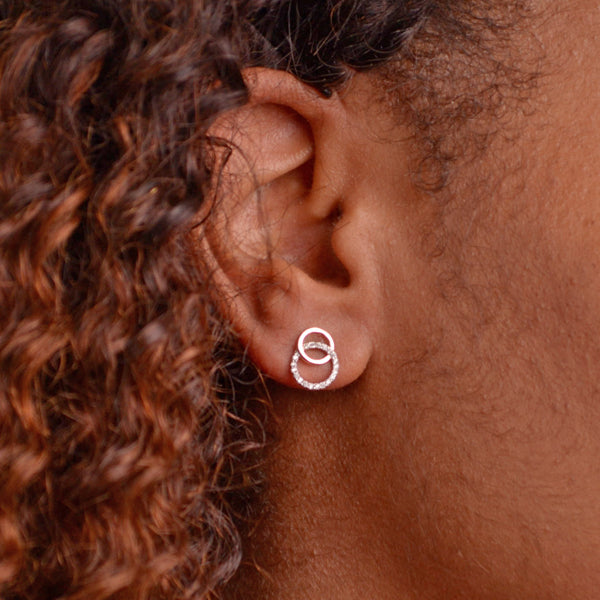 Cubic Zirconia & 14K Rose Gold Plated Circle Earrings | SilverAndGold