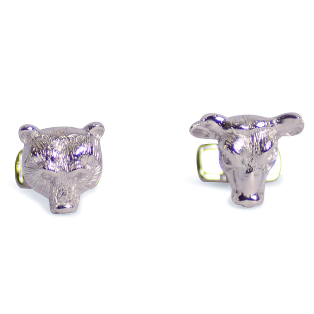 Bear and Bull Sterling Silver Cufflinks | SilverAndGold