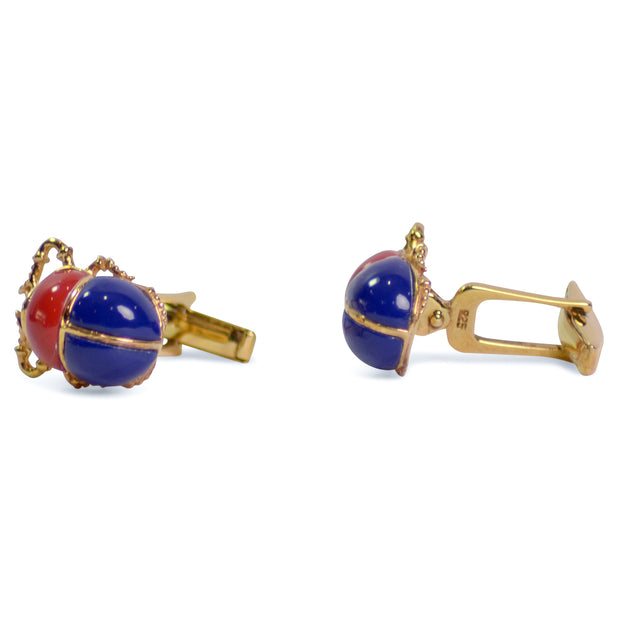 Scarab Beetle Gold Plated Sterling Silver Cufflinks | SilverAndGold
