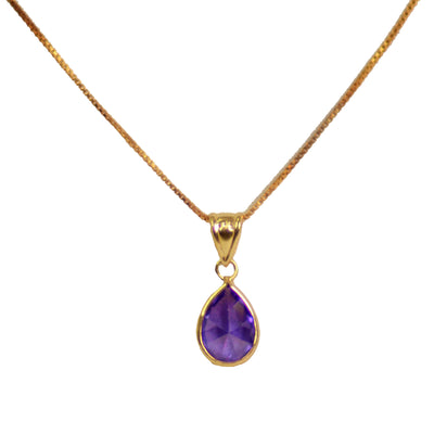 Teardrop Amethyst Cubic Zirconia & Yellow Gold Plated Sterling Silver Pendant