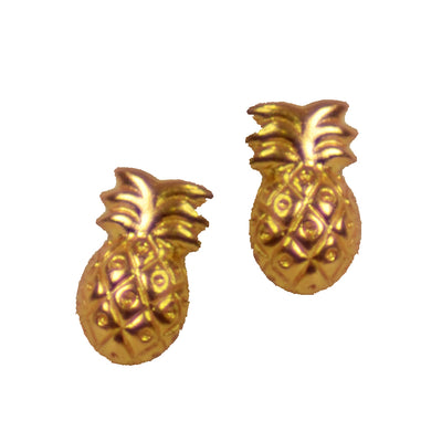 Yellow Gold Plated Sterling Silver Pineapple Stud Earrings