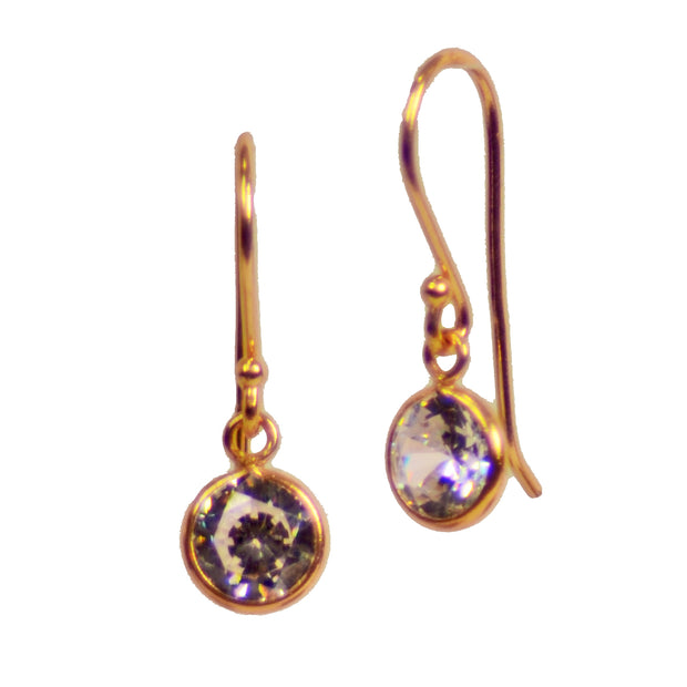 Clear Round Cubic Zirconia & Yellow Gold Plated Sterling Silver Drop Earrings