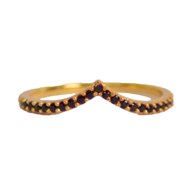 Chevron Black Cubic Zirconia & Yellow Gold Plated Sterling Silver Ring