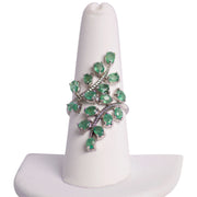 Emerald & Sterling Silver Laurel Branch Statement Ring