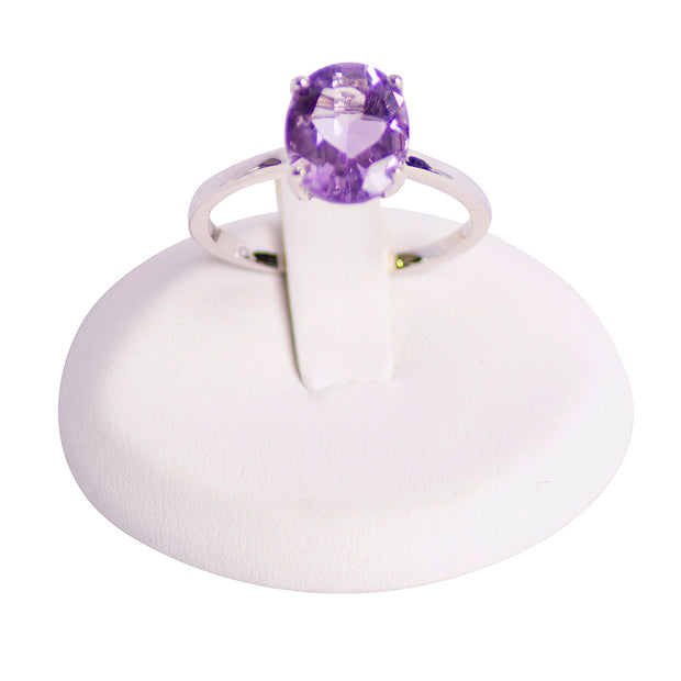 Oval Amethyst Solitaire Rhodium Over Ring