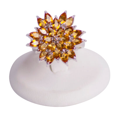Citrine Sunburst Cocktail Ring