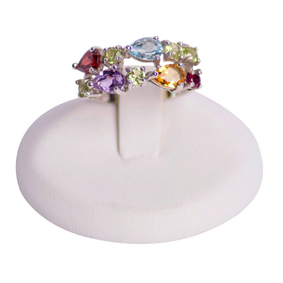 Multi Gemstone Sterling Silver Ring
