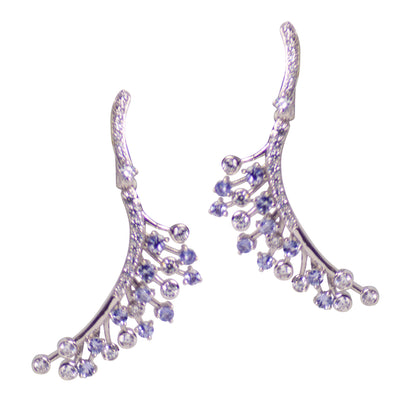 Tanzanite & Diamond Simulant Sterling Silver Earrings
