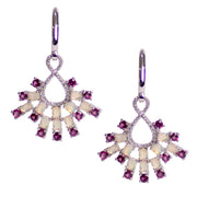 Rhodolite & Opal Sterling Silver Chandelier Earrings
