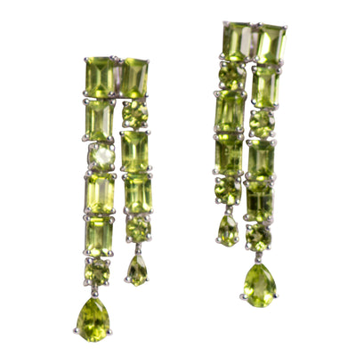 Peridot Waterfall Sterling Silver Earrings