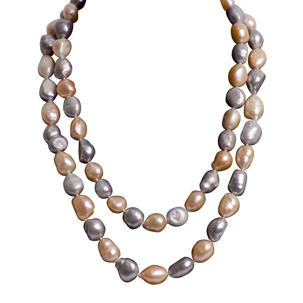 "Pink & Grey Freshwater Pearl 36"" Necklace"
