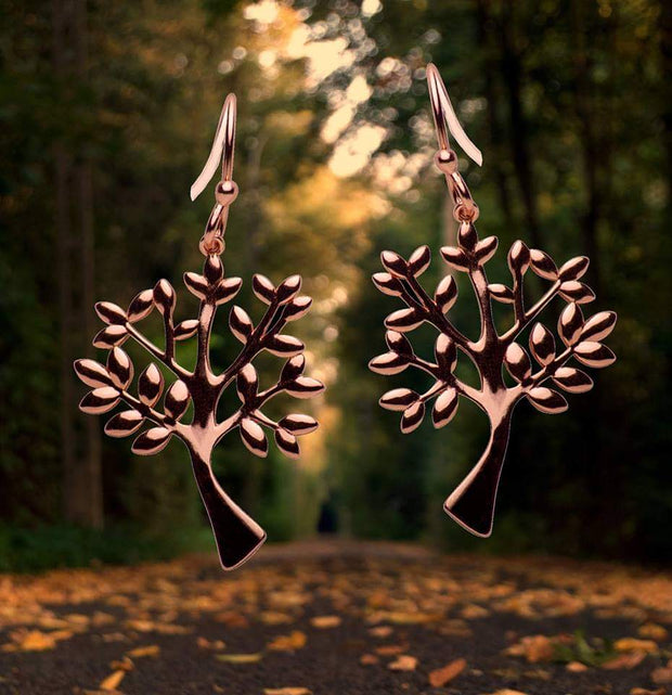 14K Rose Gold Plated Sterling Silver Tree of Life Hook Earrings