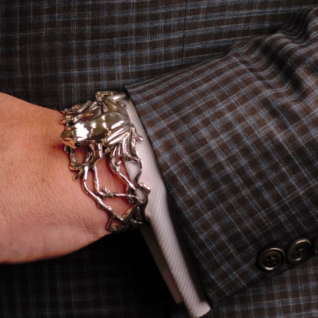 Hand Made Artistic Frog Cuff Bracelet - in Sterling Silver