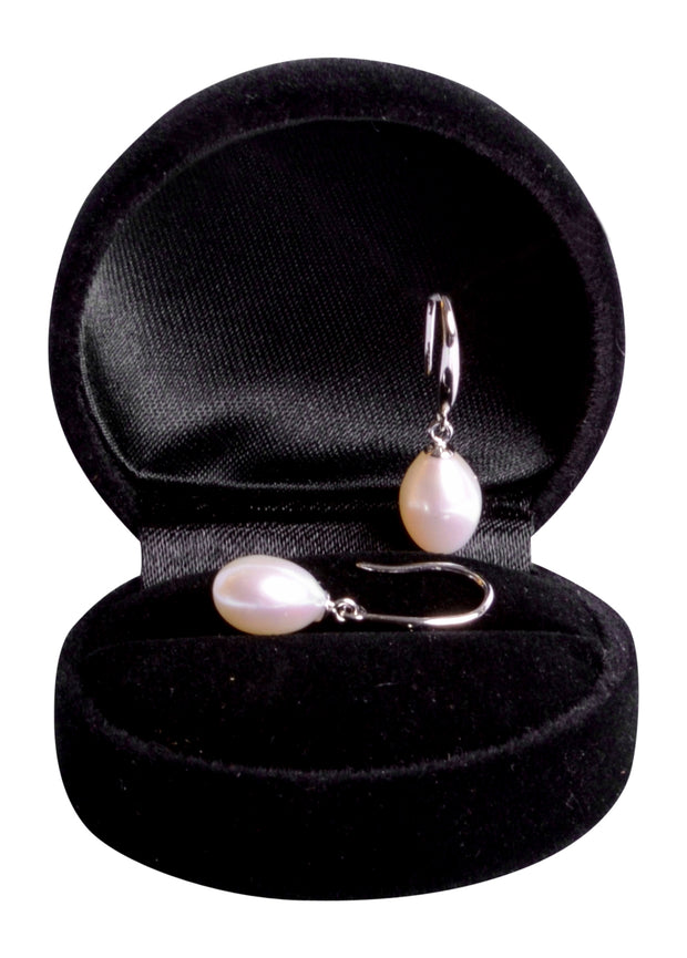 White Classic Pearl Dangling Sterling Silver Earrings | SilverAndGold