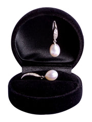 9 mm Brilliant White South Seas Drop Cultured Pearl and Crystal Earrings in Sterling Silver