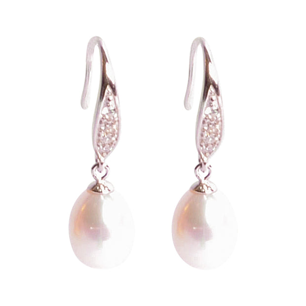 Pearl & Crystal Dangling Sterling Silver Earrings | SilverAndGold