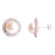 Pearl & Crystal Sunburst Sterling Silver Earrings | SilverAndGold