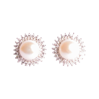 9 mm Brilliant White South Seas Button Lustrous Cultured Pearl and Sunburst Crystal Earrings in Sterling Silver