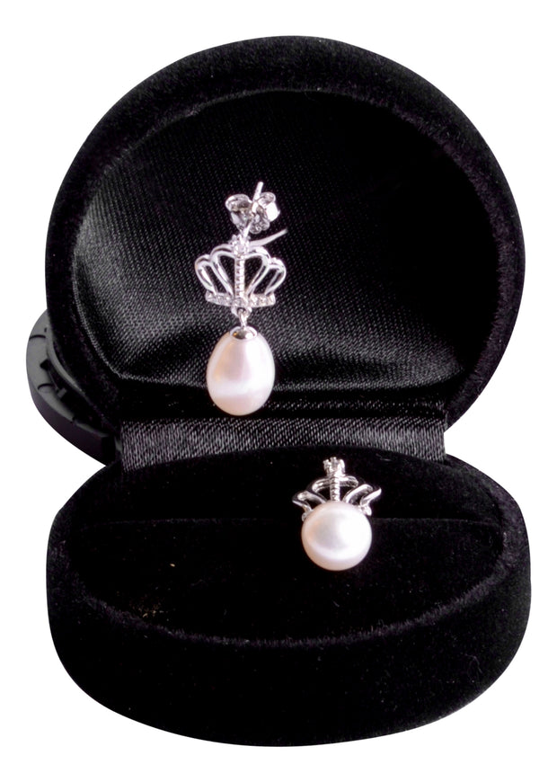 9 mm Brilliant White South Seas Drop Cultured Pearl Royal Earrings in Sterling Silver