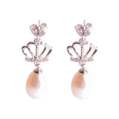 Freshwater South Seas White Drop 9 mm Pearl Royal Earrings