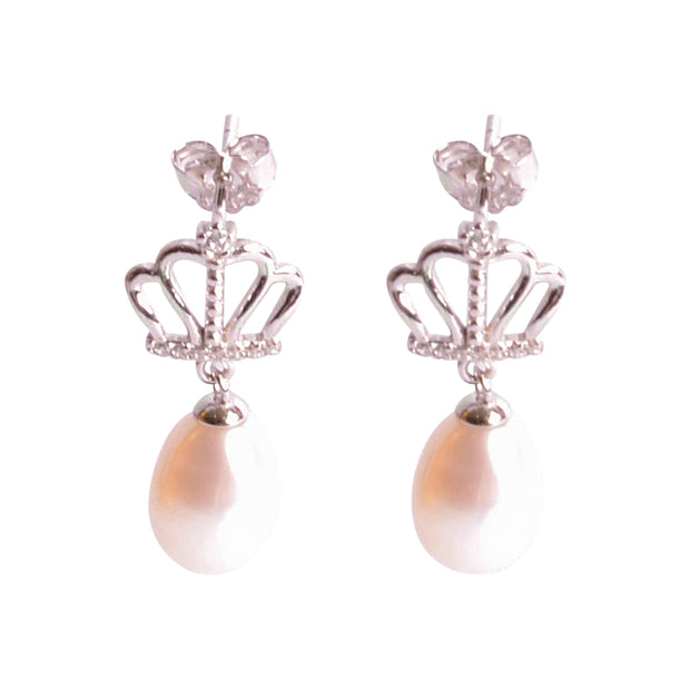 Pearl & Crown Sterling Silver Earrings | SilverAndGold