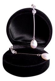 White Pearl & Crystal Sterling Silver Drop Earrings | SilverAndGold
