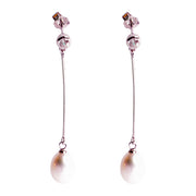 Freshwater South Seas Drop 9 mm Pearl Crystal Accented Drop Earrings