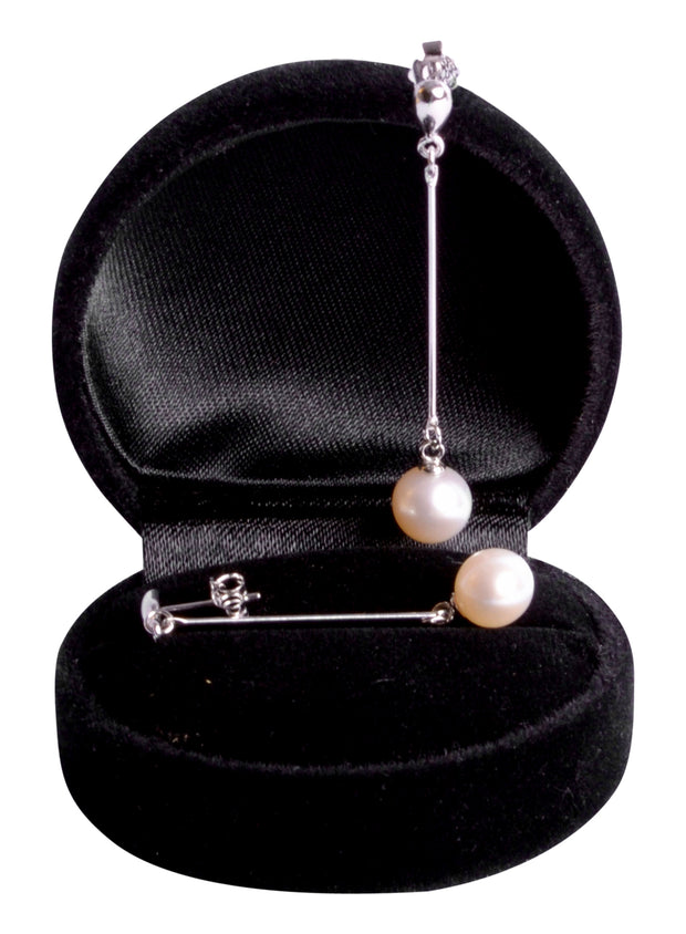 White Pearl Dangle Sterling Silver Earrings | SilverAndGold