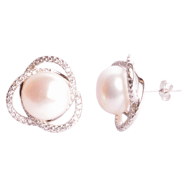 White Pearl & Crystal Sterling Silver Earrings | SilverAndGold