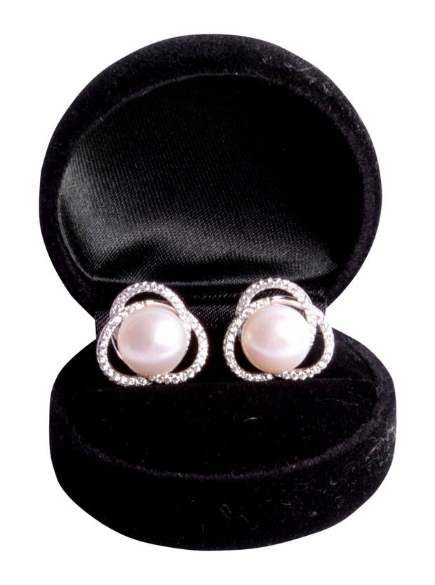 South Seas Freshwater White Button 12 mm Pearl Earrings