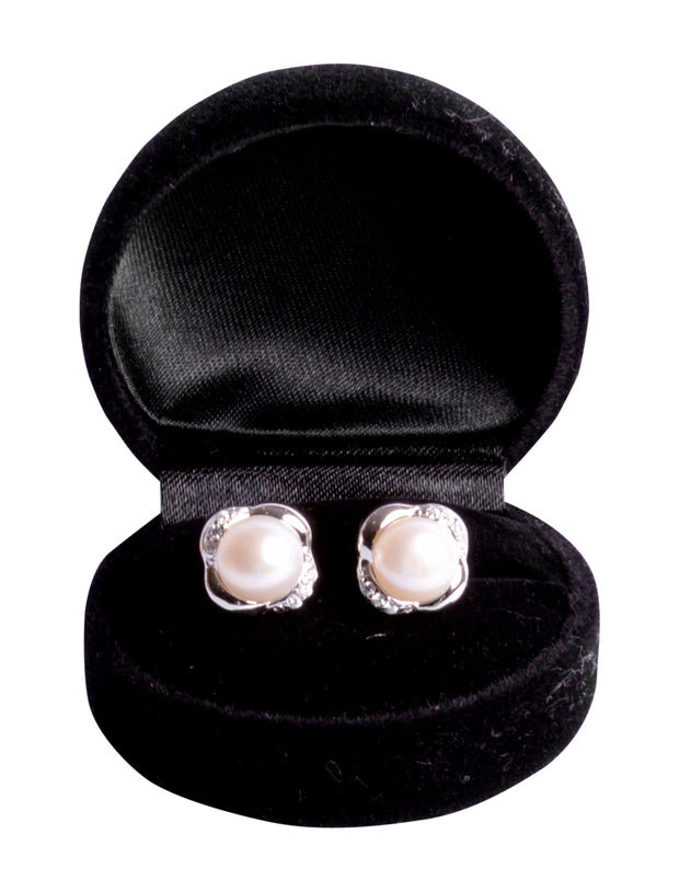 9 mm Brilliant White South Seas Button Cultured Pearl Stud Earrings in Sterling Silver