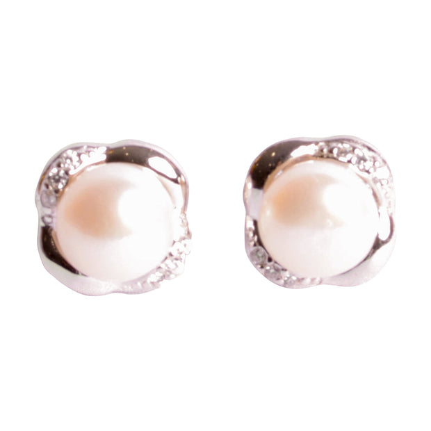 White Button Pearl Stud Earrings | SilverAndGold