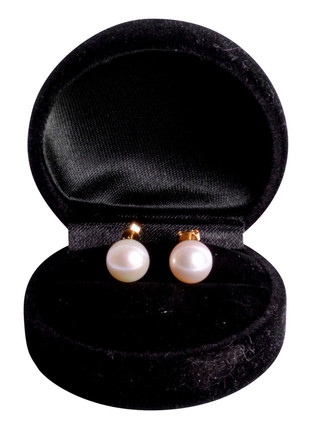 18K Yellow Gold Glossy Freshwater South Seas White 10 mm Pearl Earrings