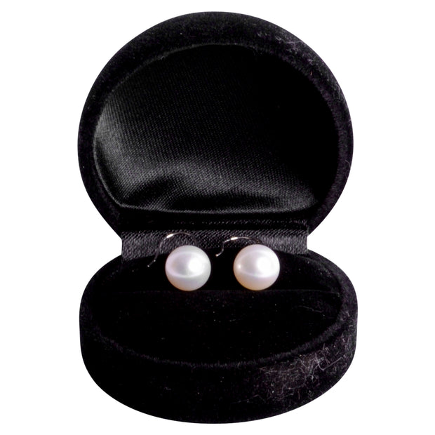 14K White Gold Lustrous Freshwater South Seas White 10 mm Pearl Earrings